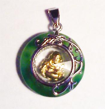Pendentif porte bonheur en jade argent bouddha rotatif - Porte bonheur argent richesse ...
