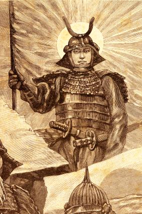 Engraving Japanese warrior 1881